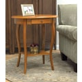 Carolina Cottage 27in. x 24in. x 18in. Wood Martha Ova End Table, Oak