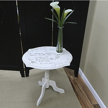 Carolina Cottage 23in. x 22in. x 18in. Wood Vintage Script Pedestal Table, Cream