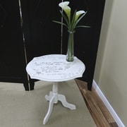 "Carolina Cottage 23"" x 22"" x 18"" Wood Vintage Script Pedestal Table, Cream"