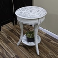 Carolina Cottage 26 1/2in. x 18 1/4in. x 18 1/4in. Wood Vintage Parisian Script Accent Table, Cream