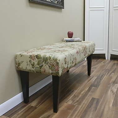 Carolina Cottage Bridgewater Cotton Solid Wood Romance Bench With Antique Black Shaker Legs