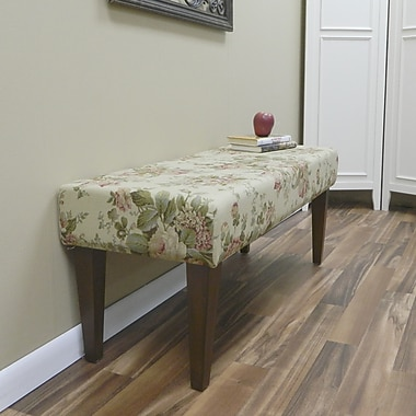 Carolina Cottage Bridgewater Cotton Solid Wood Romance Bench With Chestnut Shaker Legs