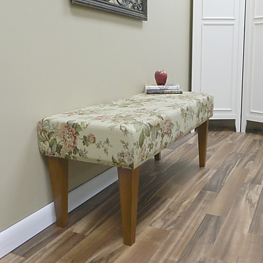 Carolina Cottage Bridgewater Cotton Solid Wood Romance Bench With Walnut Shaker Legs
