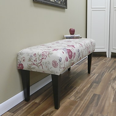 Carolina Cottage Mayfield Cotton Solid Wood Romance Bench With Antique Black Shaker Legs