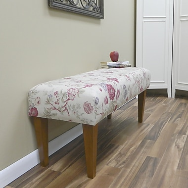 Carolina Cottage Mayfield Cotton Solid Wood Romance Bench With Walnut Shaker Legs