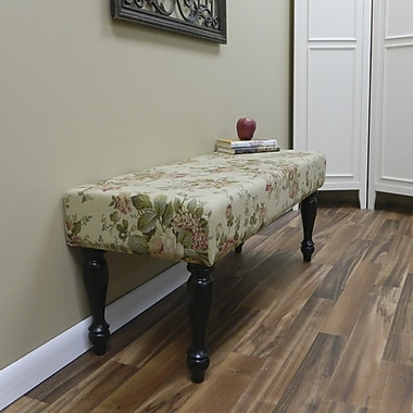 Carolina Cottage Bridgewater Cotton Solid Wood Romance Bench With Antique Black Turned Legs