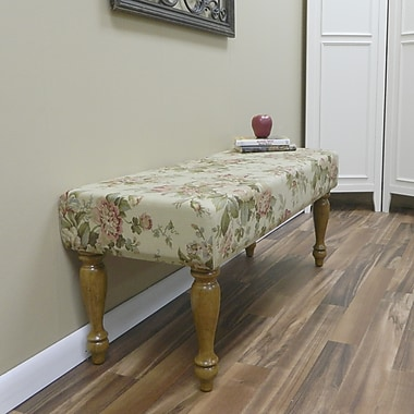 Carolina Cottage Bridgewater Cotton Solid Wood Romance Bench With English Pine Turned Legs