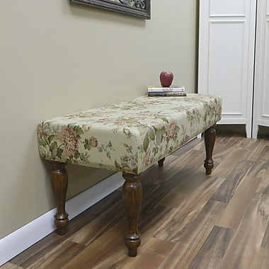 Carolina Cottage Bridgewater Cotton Solid Wood Romance Bench With Chestnut Turned Legs