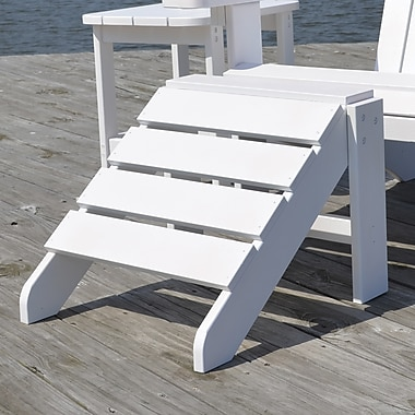 Carolina Cottage Cape Cod High-Density Plastic Adirondack Ottoman, Alpine White