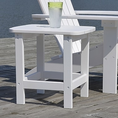 Carolina Cottage 16in. x 18 1/2in. x 19in. Plastic Cape Cod Adirondack Side Table, Alpine White