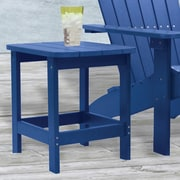 "Carolina Cottage 16"" x 18 1/2"" x 19"" Plastic Cape Cod Adirondack Side Table, Pacific Blue"