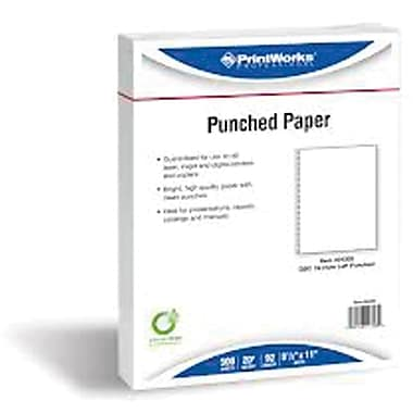 Printworks® Professional 8 1/2in. x 11in. 20 lbs. Punched Paper, Green, 2500/Case