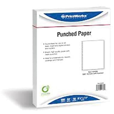 Printworks® Professional 8 1/2in. x 11in. 20 lbs. Punched Paper, Pink, 2500/Case