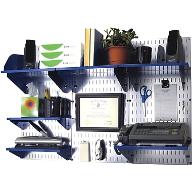 Wall Control Desk and Office Craft Center Organizer Kit, Galvanized Tool Board and Blue Accessories