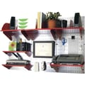 Wall Control Desk and Office Craft Center Organizer Kit, Galvanized Tool Board and Red Accessories