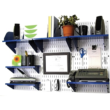 Wall Control Desk and Office Craft Center Organizer Kit, White Tool Board and Blue Accessories