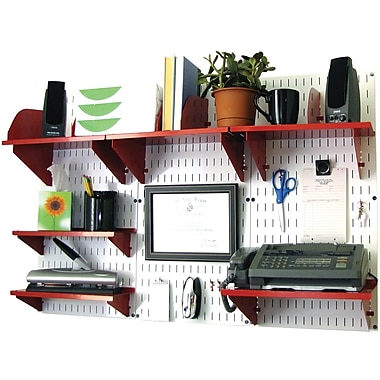 Wall Control Desk and Office Craft Center Organizer Kit, White Tool Board and Red Accessories