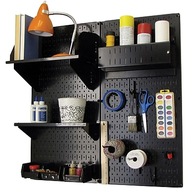 Wall Control Craft Center Pegboard Organizer Black Tool Board and Accessories Kit