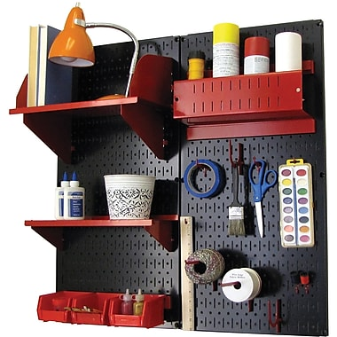 Wall Control Craft Center Pegboard Organizer Kit, Black Tool Board and Red Accessories