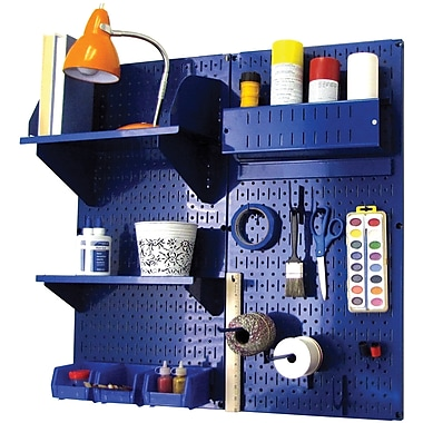 Wall Control Craft Center Pegboard Organizer Kit, Blue Tool Board and Blue Accessories