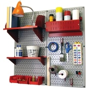 Wall Control Craft Center Pegboard Organizer Kit, Gray Tool Board and Red Accessories