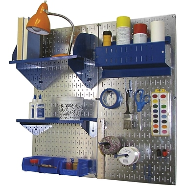 Wall Control Craft Center Pegboard Organizer Kit, Galvanized Tool Board and Blue Accessories