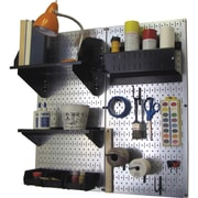 Wall Control Craft Center Pegboard Organizer Kit, Galvanized Tool Board and Black Accessories
