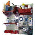 Wall Control Craft Center Pegboard Organizer Kit, Galvanized Tool Board and Red Accessories