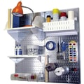 Wall Control Craft Center Pegboard Organizer Kit, Galvanized Tool Board and White Accessories