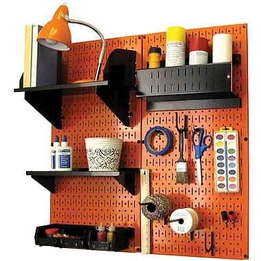 Wall Control Craft Center Pegboard Organizer Orange Tool Board and Accessories Kit