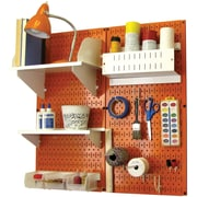 Wall Control Craft Center Pegboard Organizer Kit, Orange Tool Board and White Accessories