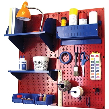 Wall Control Craft Center Pegboard Organizer Kit, Red Tool Board and Blue Accessories