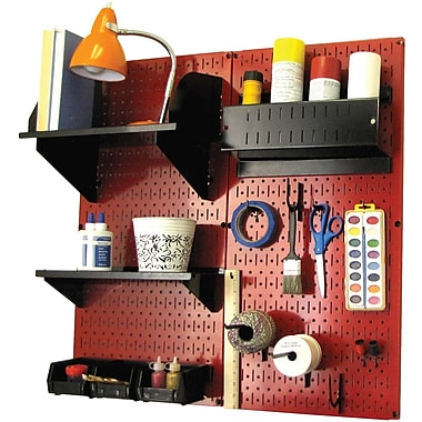 Wall Control Craft Center Pegboard Organizer Kit, Red Tool Board and Black Accessories