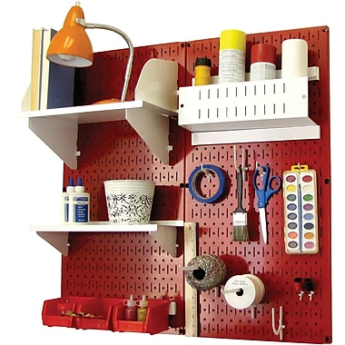 Wall Control Craft Center Pegboard Organizer Kit, Red Tool Board and White Accessories