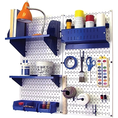 Wall Control Craft Center Pegboard Organizer Kit, White Tool Board and Blue Accessories