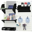 Wall Control Craft Center Pegboard Organizer Kit, White Tool Board and Black Accessories
