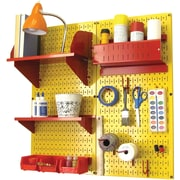 Wall Control Craft Center Pegboard Organizer Kit, Yellow Tool Board and Red Accessories