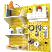 Wall Control Craft Center Pegboard Organizer Kit, Yellow Tool Board and White Accessories