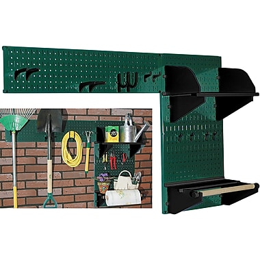 Wall Control Garden Tool Storage Organizer Pegboard Kit, Green Tool Board and Black Accessories