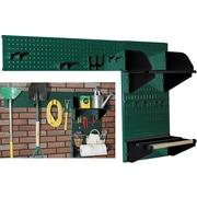 Wall Control Garden Tool Storage Organizer Pegboard Kit, Green Tool Board and Black Accessories