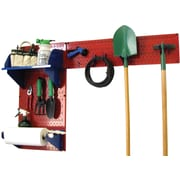 Wall Control Garden Tool Storage Organizer Pegboard Kit, Red Tool Board and Blue Accessories