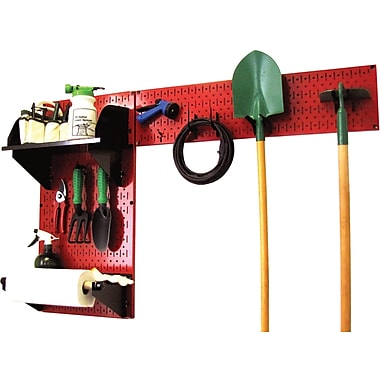 Wall Control Garden Tool Storage Organizer Pegboard Red Tool Board and Accessories Kit