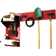 Wall Control Garden Tool Storage Organizer Pegboard Kit, Red Tool Board and Black Accessories