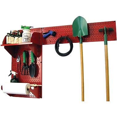 Wall Control Garden Tool Storage Organizer Pegboard Kit, Red Tool Board and Red Accessories