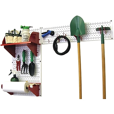 Wall Control Garden Tool Storage Organizer Pegboard Kit, White Tool Board and Red Accessories