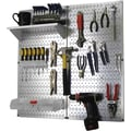 Wall Control Metal Pegboard Utility Tool Storage Kit, Galvanized Pegboard and White Accessories