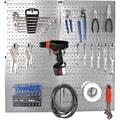 Wall Control Metal Pegboard Organizer Starter Kit, Galvanized Pegboard and Black Accessories