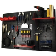 Wall Control 4' Metal Pegboard Standard Workbench Kit, Black Tool Board and Red Accessories