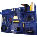 Wall Control 4' Metal Pegboard Standard Workbench Kit, Blue Tool Board and Blue Accessories