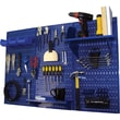 Wall Control 4' Metal Pegboard Standard Workbench Kit, Blue Tool Board and Blue Accessories